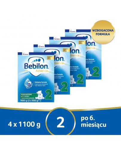 Bebilon 2 Pronutra Advance mleko modyfikowane po 6. miesiącu 4x 1100 g [CZTEROPAK] + Ski...