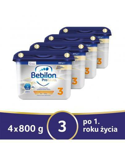 Bebilon 3 ProFutura mleko modyfikowane po 12 miesiącu 4x 800 g [CZTEROPAK]  whited-out
