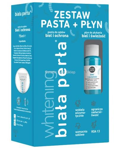 Biała Perła Whitening pasta do zębów 75 ml + płyn do płukania zębów 100 ml [ZESTA...