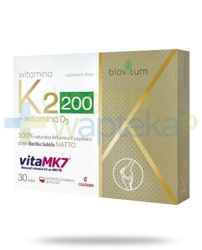 Colfarm Biovitum witamina K2 200 + witamina D3 30 kapsułek [Data ważności 30-11-2018]