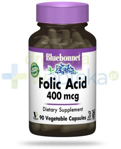 Bluebonnet Nutrition Kwas foliowy 400 mcg, 90 wegańskich kapsułek [DARMOWA DOSTAWA]