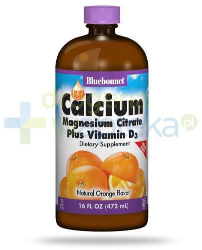 Bluebonnet Nutrition Wapń, Magnez w postaci cytrynianu, Witamina D3, płynna forma (472 ml), smak pomarańczowy