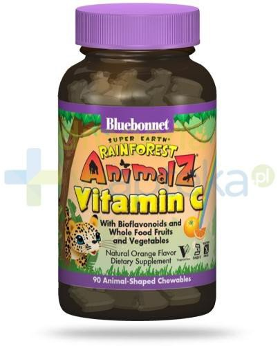 Bluebonnet Nutrition Super Earth Rainforest Animalz, Witamina C dla dzieci od lat 4, 90 ta...
