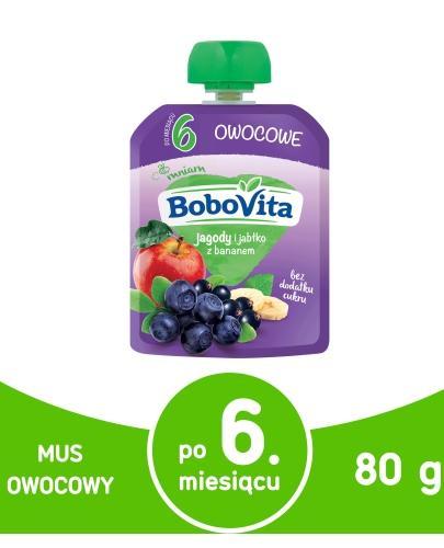 BoboVita Mus owocowy jagody i jabłka z bananem dla dzieci 6m+ 80 g
