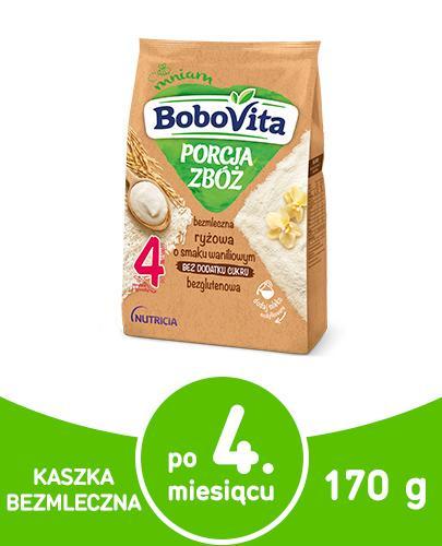 BoboVita Porcja zbóż bezmleczna kaszka ryżowa o smaku waniliowym dla dzieci 4m+ 170 g  whited-out