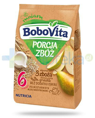 BoboVita Porcja zbóż mleczna kaszka zbożowo-żytnia 3 zboża o smaku gruszki dla dzieci 6m+ 210 g