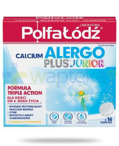 Calcium Alergo Plus Junior Laboratoria Polfa Łódź smak cytrynowy 16 tabletek musującyc...