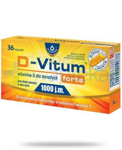 D-Vitum Forte 1000j.m. witamina D dla dorosłych i dzieci powyżej 6-go roku życia 36 kapsułek