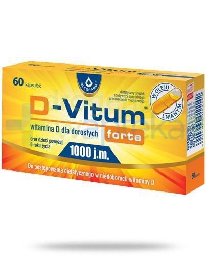D-Vitum Forte 1000j.m. witamina D dla dorosłych i dzieci powyżej 6-go roku życia 60 kapsułek
