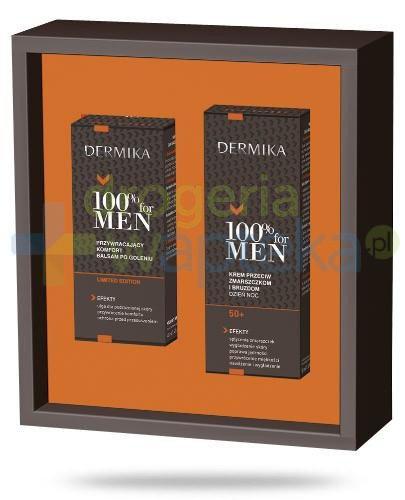 Dermika 100% For Men krem 50+ przeciw zmarszczkom i bruzdom na dzień i na noc 50 ml + balsam po goleniu przywracający komfort 40 ml [ZESTAW]