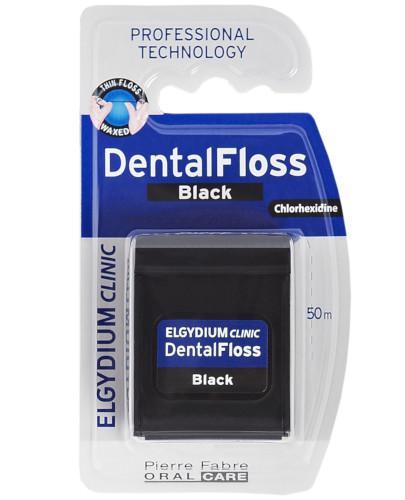 Elgydium Clinic czarna nić dentystyczna z chlorheksydyną 50 m