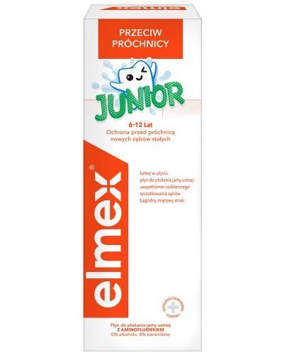 Elmex Junior z aminofluorkiem dla dzieci 6-12 lat płyn do płukania jamy ustnej 400 ml