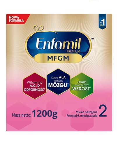 Enfamil 2 Premium MFGM mleko następne modyfikowane po 6 miesiącu 2x 1200 g [DWUPAK]  + S...