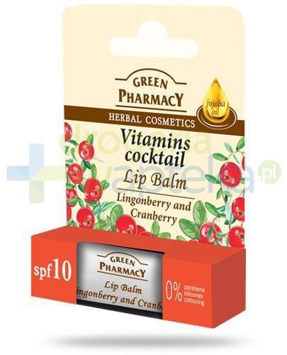 Green Pharmacy balsam do ust koktajl witaminowy SPF10 brusznica żurawina 3,6 g Elfa Pharm