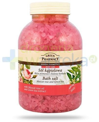 Green Pharmacy sól kąpielowa róża piżmowa i zielona herbata 1300 g Elfa Pharm