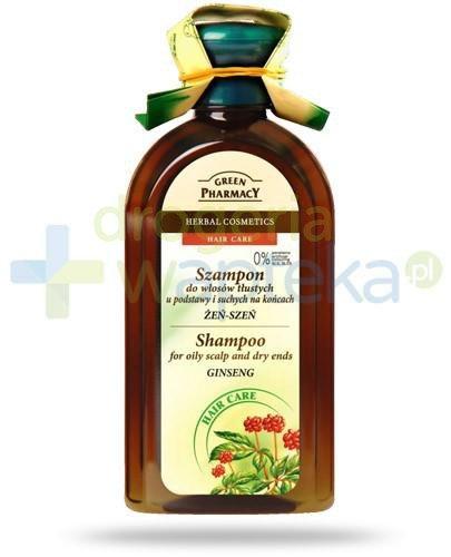 Green Pharmacy szampon do włosów tłustych u podstawy i suchych na końcach żeń-szeń 350 ml Elfa Pharm