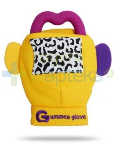 Gummee Glove rękawiczka z gryzakiem 3m+ kolor żółty  whited-out