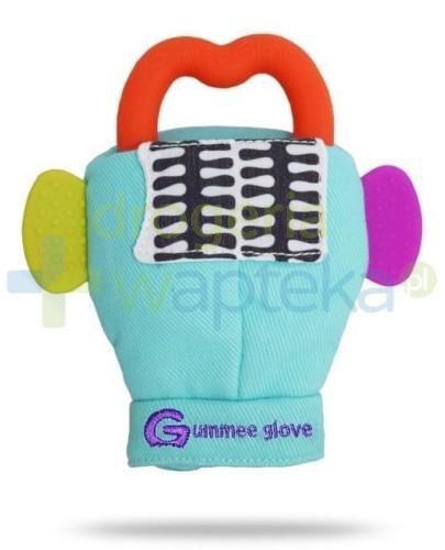 Gummee Glove rękawiczka z gryzakiem 3m+ kolor turkusowy  whited-out