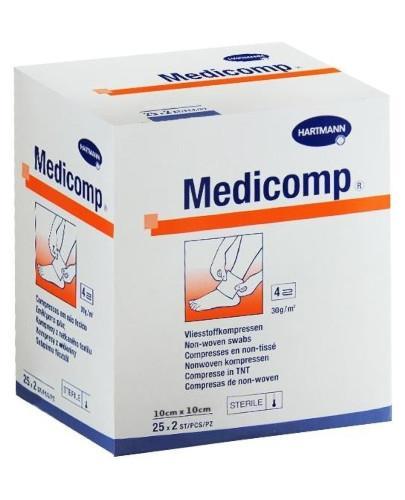 Hartmann Medicomp kompresy jałowe z włókniny 10cm x 10cm 25 x 2 sztuki