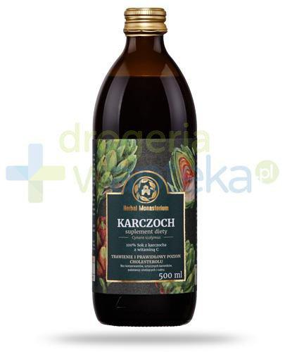 Herbal Monasterium Karczoch naturalny sok z karczocha z witaminą C 500 ml