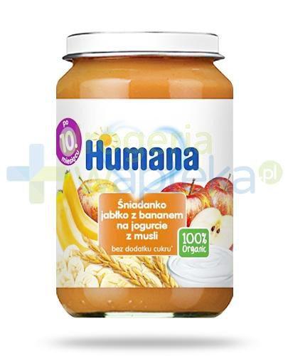 Humana 100% Organic śniadanko jabłko z bananem na jogurcie z musli dla dzieci 10m+ 190 g  whited-out