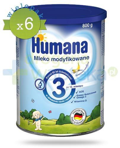 Humana 3 mleko modyfikowane dla dzieci 12m+ 800 g x6 [WIELOPAK]