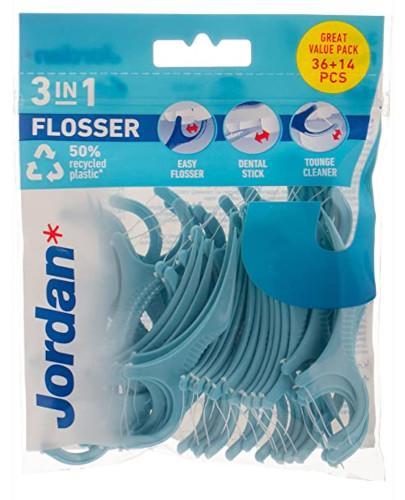 Jordan Flosser 3 w 1 nić, wykałaczka i czyścik do języka 50 sztuk