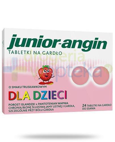 Junior-angin tabletki na gardło dla dzieci o smaku truskawkowym 24 tabletki