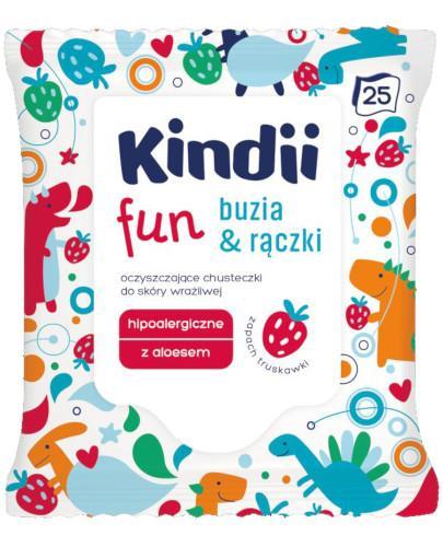 Kindii Fun Buzia & Rączki oczyszczające chusteczki do skóry wrażliwej 25 sztuk