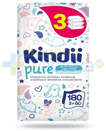Kindii Pure bezzapachowe chusteczki z aloesem do skóry wrażliwej 3x 60 sztuk  whited-out