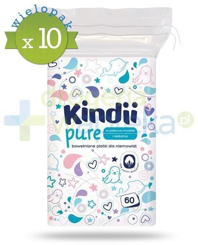Kindii Pure miękkie bawełniane płatki dla niemowląt 60 sztuk x 10 [Baby Sensitive, Cle...