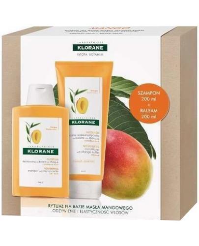 Klorane Mango Pielęgnacja nawilżająca i odżywiająca włosy szampon 200 ml + balsa...