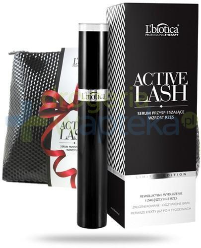 Lbiotica Active Lash serum pobudzające wzrost rzęs i brwi 3,5 ml + kosmetyczka [ZESTAW]