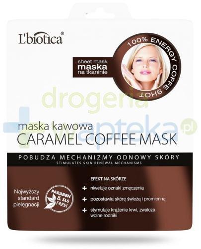Lbiotica Caramel Coffee maska kawowa o zapachu syropu karmelowego na tkaninie 23 ml