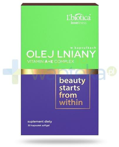 Lbiotica Loveliness Olej lniany + Vitamin A+E Complex 30 kapsułek