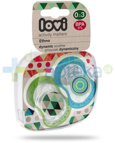 Lovi Etno dynamiczny smoczek silikonowy dla dzieci 0-3mc 2 sztuki [22/833]