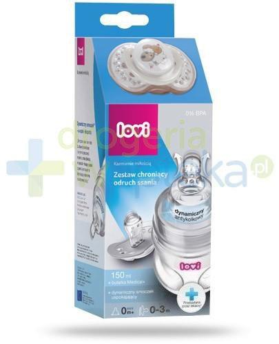 Lovi Medical+ zestaw chroniący odruch ssania butelka 150 ml + dynamiczny smoczek uspokajający 0-3m 1 sztuka