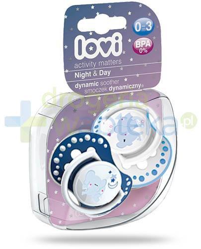 Lovi Night&Day dynamiczny smoczek silikonowy dla dzieci 0-3mc 2 sztuki [22/809Boy]