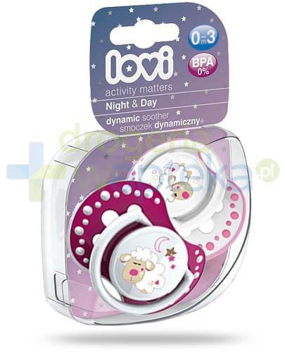 Lovi Night&Day dynamiczny smoczek silikonowy dla dzieci 0-3mc 2 sztuki [22/809Girl]