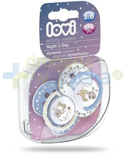 Lovi Night&Day dynamiczny smoczek silikonowy dla dzieci 3-6mc 2 sztuki [22/810Boy]