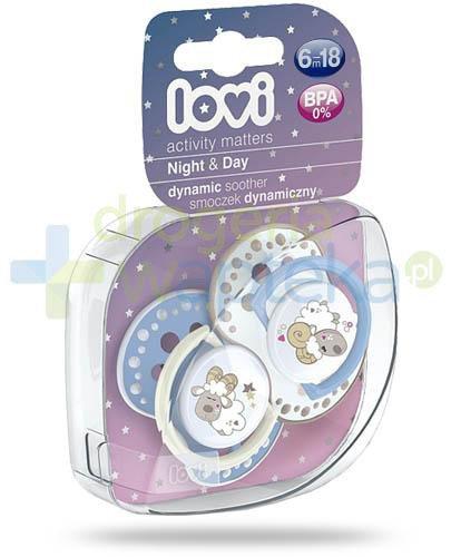 Lovi Night&Day dynamiczny smoczek silikonowy dla dzieci 6-18mc 2 sztuki [22/811Boy]