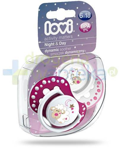 Lovi Night&Day dynamiczny smoczek silikonowy dla dzieci 6-18mc 2 sztuki [22/811Girl]