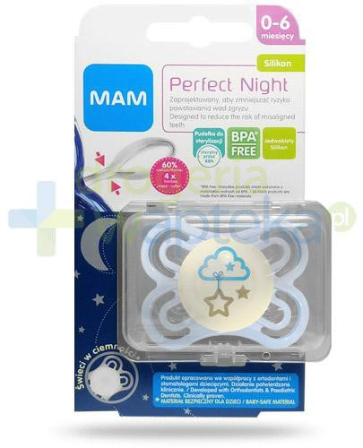 MAM Perfect Night smoczek silikonowy 0m+ świeci w ciemności 1 sztuka [25515]