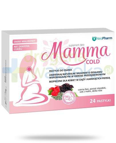 NeoPharm Mamma Cold pastylki do ssania o smaku malinowym 24 sztuki [Data ważnośc...