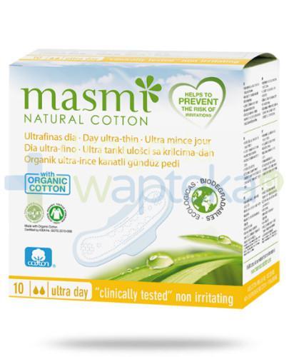 Masmi Ultracienkie podpaski na dzień ze skrzydełkami 10 sztuk - 100% bawełny organiczne...