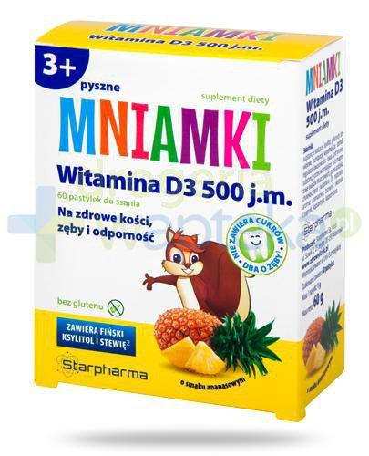 Mniamki witamina D3 500 pastylki o smaku ananasowym dla dzieci 3+ 60 sztuk