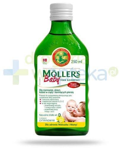 Mollers Baby Tran Norweski smak cytrynowy 250 ml + rodzinna gra Alfa i Omega [GRATIS]