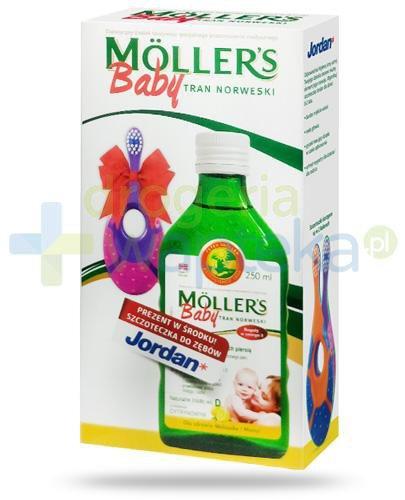 Mollers Baby Tran Norweski smak cytrynowy 250 ml + Jordan Step-1 szczoteczka do zębów dl...  whited-out