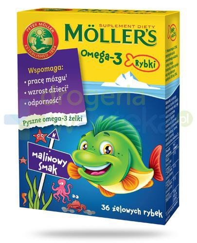 Mollers Omega-3 Rybki, żelki o smaku malinowym 36sztuk  whited-out