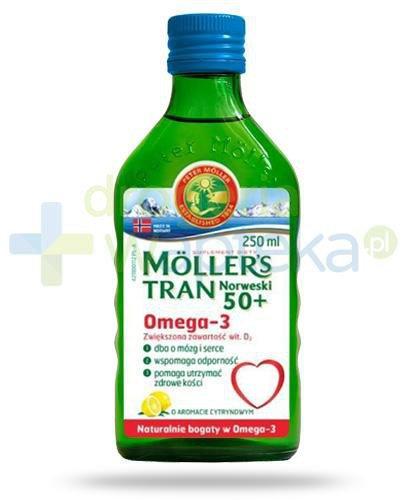 Mollers Tran Norweski 50+ Omega-3 smak cytrynowy 250 ml +  rodzinna gra Alfa i Omega [GRATIS]